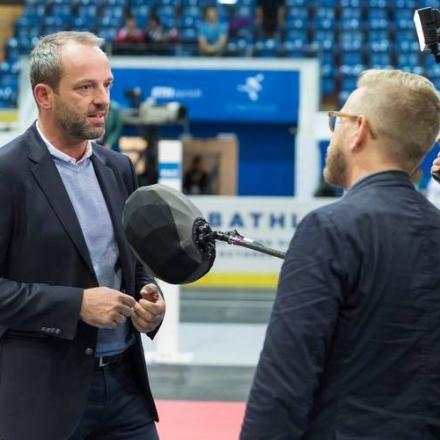 Rob Riener being interviewed on camera at the opening ceremony of the 2016 Cybathlon.