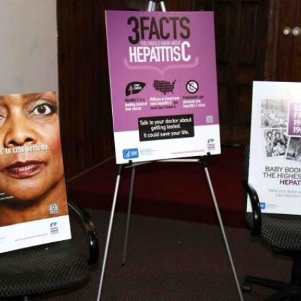 Three posters showing information about Hepatitis C