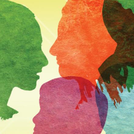 Graphic of floating multicolored head silhouettes