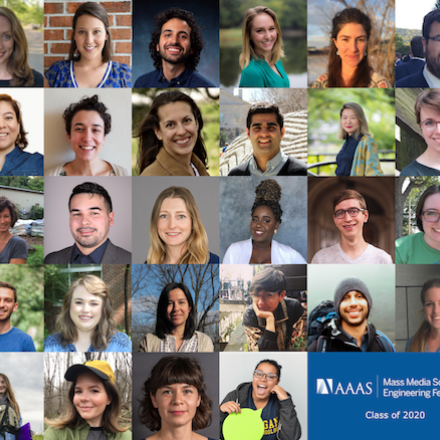 A compilation of the headshots of all 2020 Mass Media Fellows.
