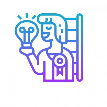 Icon of a person wearing a prize ribbon holding up a light bulb