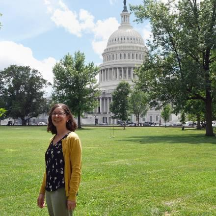 2019-20 Leshner Fellow Leia Stirling at the U.S. Capitol during her June 2019 AAAS orientation.