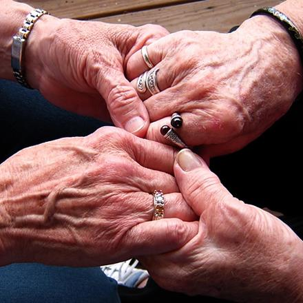 elderly hands with rings