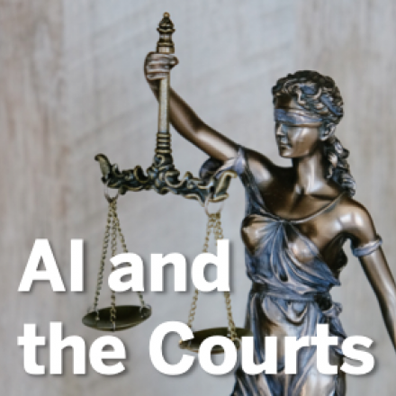 """A phone of a sculpture of Lady Justice with overlaid text, """"AI in the Courts."""""""