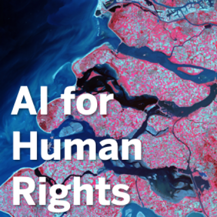 """Satellite Image with overlaid text, """"AI for Human Rights."""""""