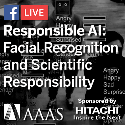 "A black and white image of facial recognition software identifying the faces of three people and predicting their emotions. Text overlay reading ""Responsible AI: Facial Recognition and Scientific Responsibility."""