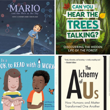 A collage of four children's science book covers