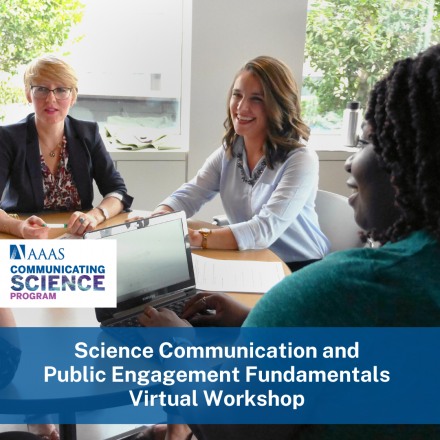 """People sitting around a table with a banner saying """"Science Communication and Public Engagement Fundamentals Virtual Workshop"""" overlayed on the photo."""