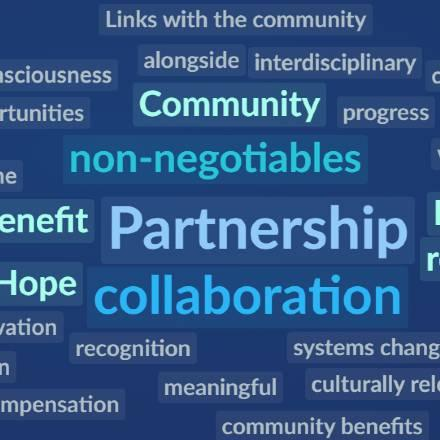 Participant-generated word cloud from Communicating Science Seminar panel on partnerships.