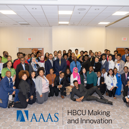 """Crowd posing and text """"AAAS HBCU Making & Innovation"""""""