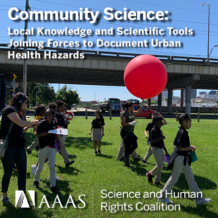 Children carrying a balloon. Learn more at the AAAS Science & Human Rights Coalition webinar, May 4, 2021 at 11am ET.