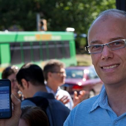 John Zimmerman, at the launch of Tiramisu, a real time arrival service for the city of Pittsburgh that used crowdsourcing to collect data on bus locations.