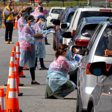 Hundreds line up in Virginia's Fairfax County for COVID-19 testing on May 23, 2020