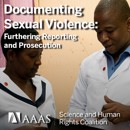 """Image depicting a nurse and doctor in Kenya. Both are wearing white, standing against a beige background, using the MediCapt app on a tablet. White text reads """"Documenting Sexual Violence: Furthering Reporting and Prosecution."""""""